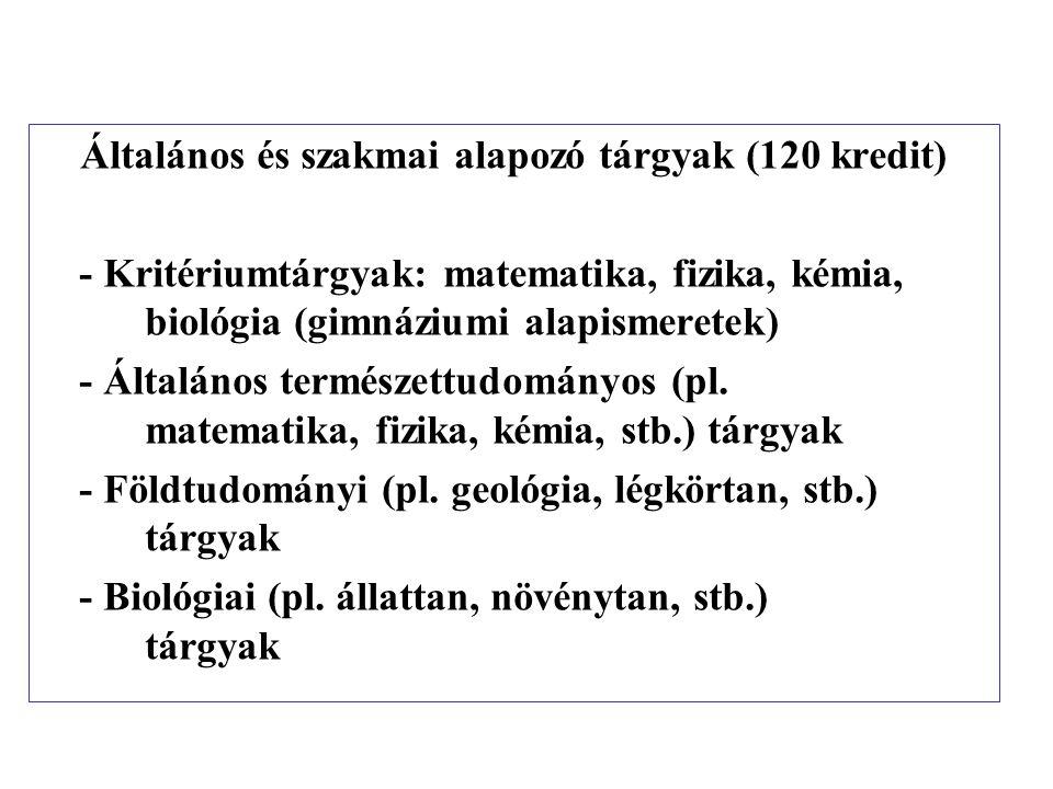 Általános és szakmai alapozó tárgyak (120 kredit) - Kritériumtárgyak: matematika, fizika, kémia, biológia (gimnáziumi alapismeretek) - Általános termé