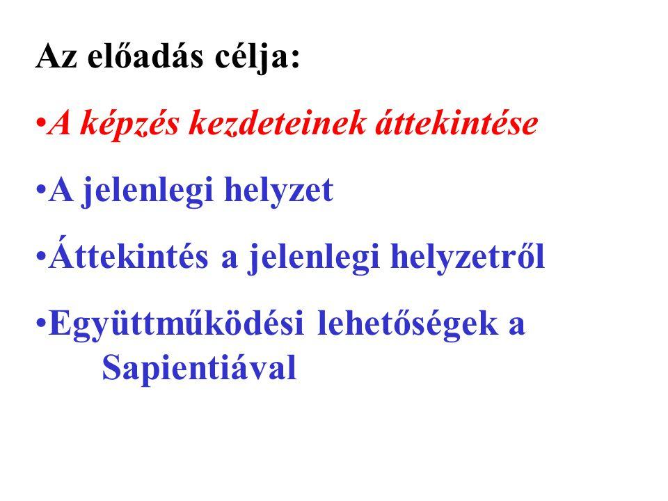 Az előadás célja: A képzés kezdeteinek áttekintése A jelenlegi helyzet Áttekintés a jelenlegi helyzetről Együttműködési lehetőségek a Sapientiával
