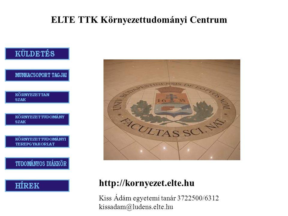 http://kornyezet.elte.hu Kiss Ádám egyetemi tanár 3722500/6312 kissadam@ludens.elte.hu ELTE TTK Környezettudományi Centrum