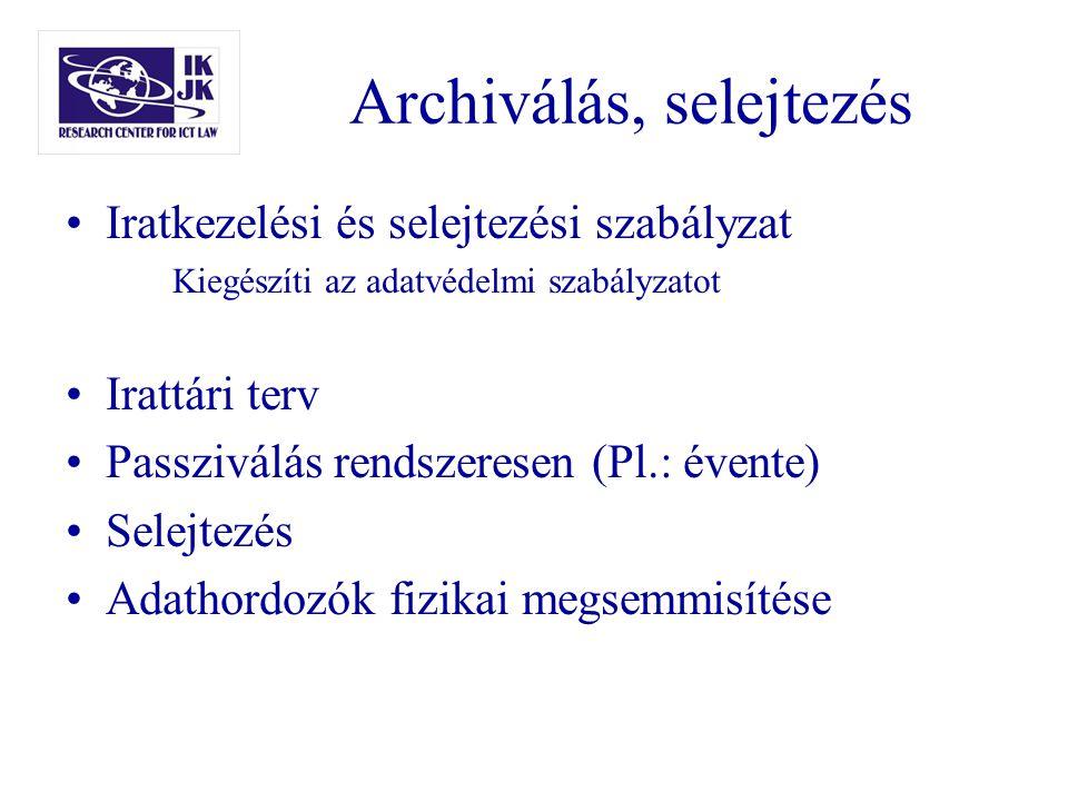 Archiválás, selejtezés Iratkezelési és selejtezési szabályzat Kiegészíti az adatvédelmi szabályzatot Irattári terv Passziválás rendszeresen (Pl.: éven