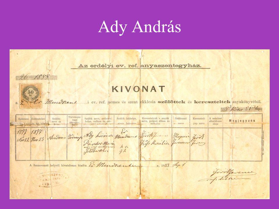 """Ady Endre versei (Latinovits Zoltán hangján) http://magyar-irodalom.elte.hu/sulinet/igyjo/setup/portrek/ady/hangok/aegog.wav http://magyar-irodalom.elte.hu/sulinet/igyjo/setup/portrek/ady/hangok/aezong.wav Góg és Magóg fia vagyok én… A fekete zongora (1907): http://epa.oszk.hu/00000/00022/00003/00068.htm http://epa.oszk.hu/00000/00022/00003/00068.htm Ignotus híres mondása szerint: """"nem értem, de gyönyörű ."""