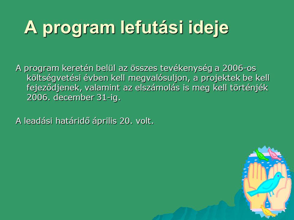 A program lefutási ideje A program keretén belül az összes tevékenység a 2006-os költségvetési évben kell megvalósuljon, a projektek be kell fejeződjenek, valamint az elszámolás is meg kell történjék 2006.