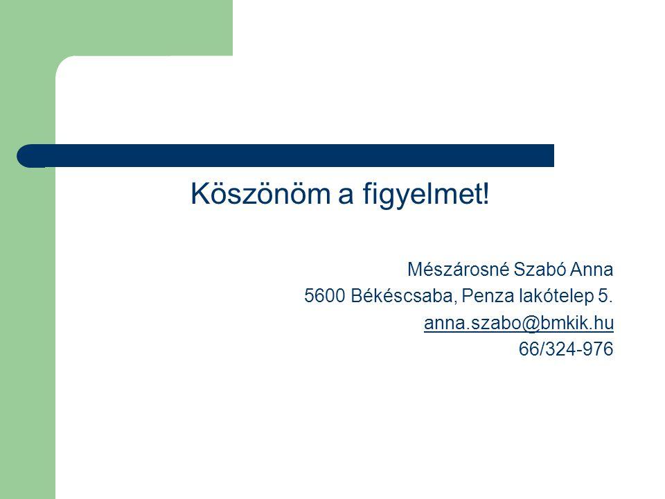 Köszönöm a figyelmet. Mészárosné Szabó Anna 5600 Békéscsaba, Penza lakótelep 5.