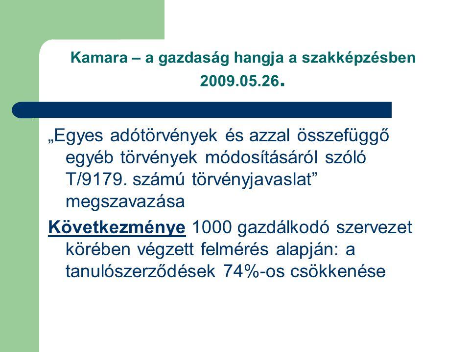 Kamara – a gazdaság hangja a szakképzésben 2009.05.26.