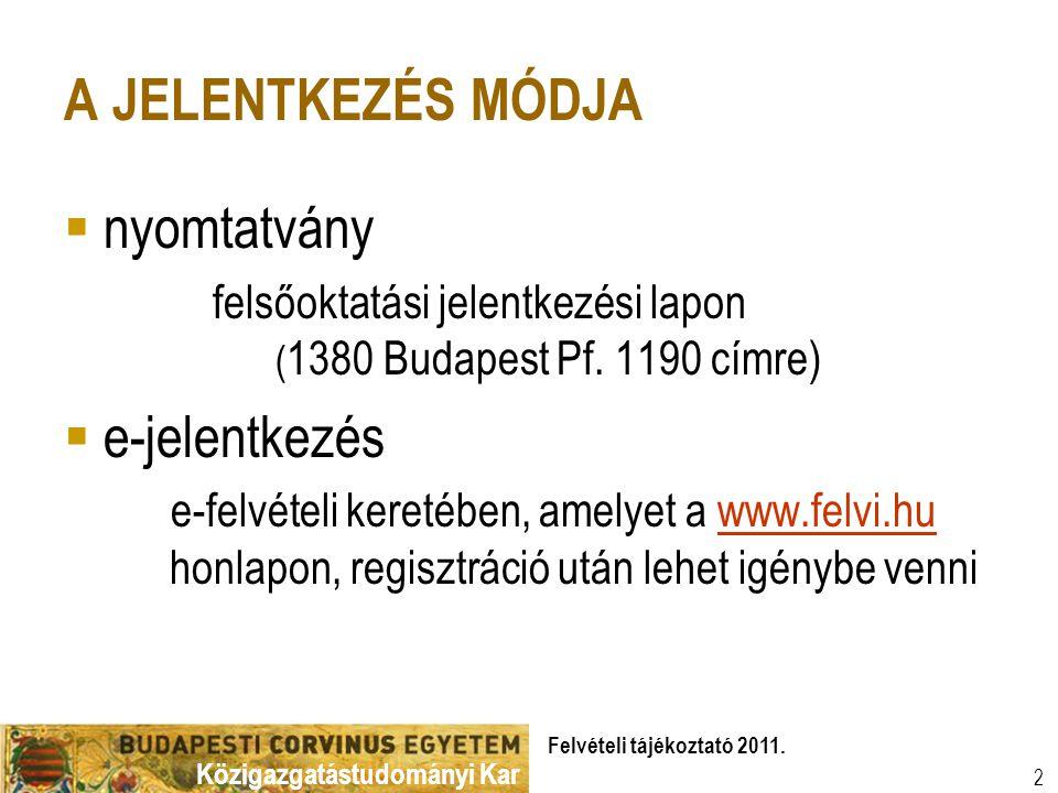 Felvételi tájékoztató 2011.