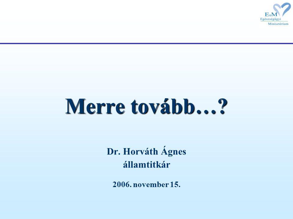 Merre tovább… Dr. Horváth Ágnes államtitkár 2006. november 15.