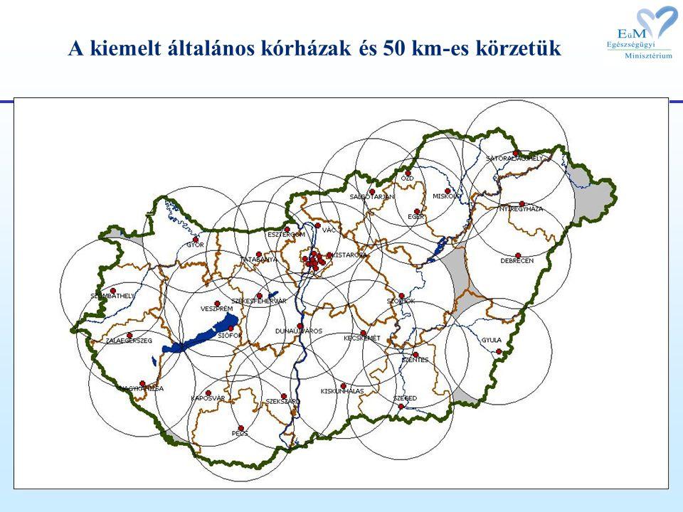 A kiemelt általános kórházak és 50 km-es körzetük