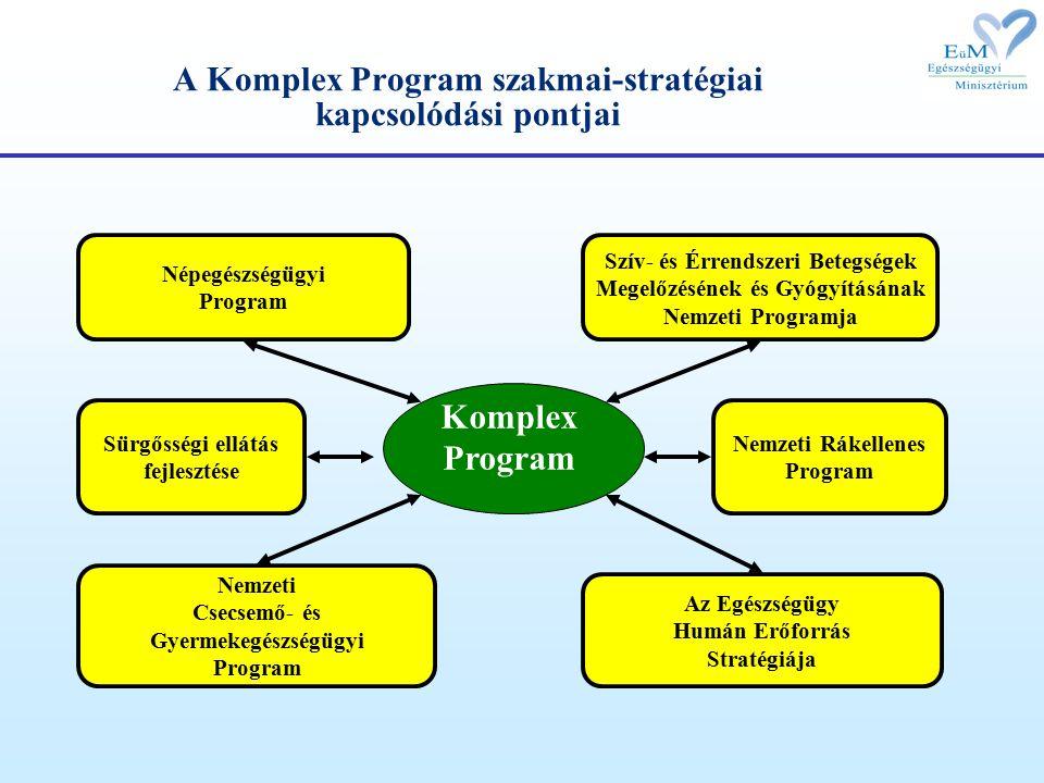 A Komplex Program szakmai-stratégiai kapcsolódási pontjai Népegészségügyi Program Nemzeti Rákellenes Program Nemzeti Csecsemő- és Gyermekegészségügyi Program Szív- és Érrendszeri Betegségek Megelőzésének és Gyógyításának Nemzeti Programja Sürgősségi ellátás fejlesztése Komplex Program Az Egészségügy Humán Erőforrás Stratégiája