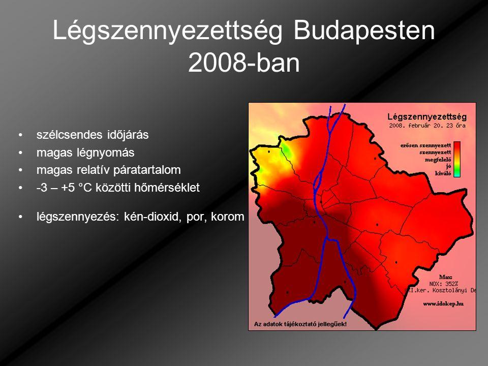 Légszennyezettség Budapesten 2008-ban szélcsendes időjárás magas légnyomás magas relatív páratartalom -3 – +5 °C közötti hőmérséklet légszennyezés: ké