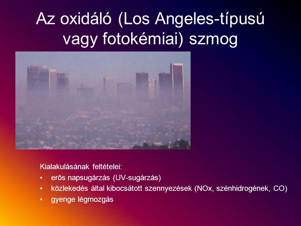 Az oxidáló (Los Angeles-típusú vagy fotokémiai) szmog Kialakulásának feltételei: erős napsugárzás (UV-sugárzás) közlekedés által kibocsátott szennyezé