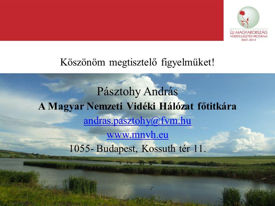 11 Köszönöm megtisztelő figyelmüket! Pásztohy András A Magyar Nemzeti Vidéki Hálózat főtitkára andras.pasztohy@fvm.hu www.mnvh.eu 1055- Budapest, Koss