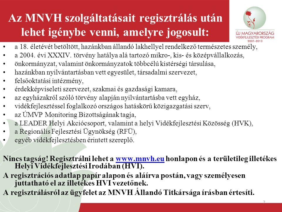 7 Az MNVH szolgáltatásait regisztrálás után lehet igénybe venni, amelyre jogosult: a 18. életévét betöltött, hazánkban állandó lakhellyel rendelkező t