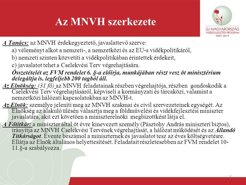 8 Az MNVH szerkezete A Tanács: az MNVH érdekegyeztető, javaslattevő szerve: a) véleményt alkot a nemzeti-, a nemzetközi és az EU-s vidékpolitikáról, b