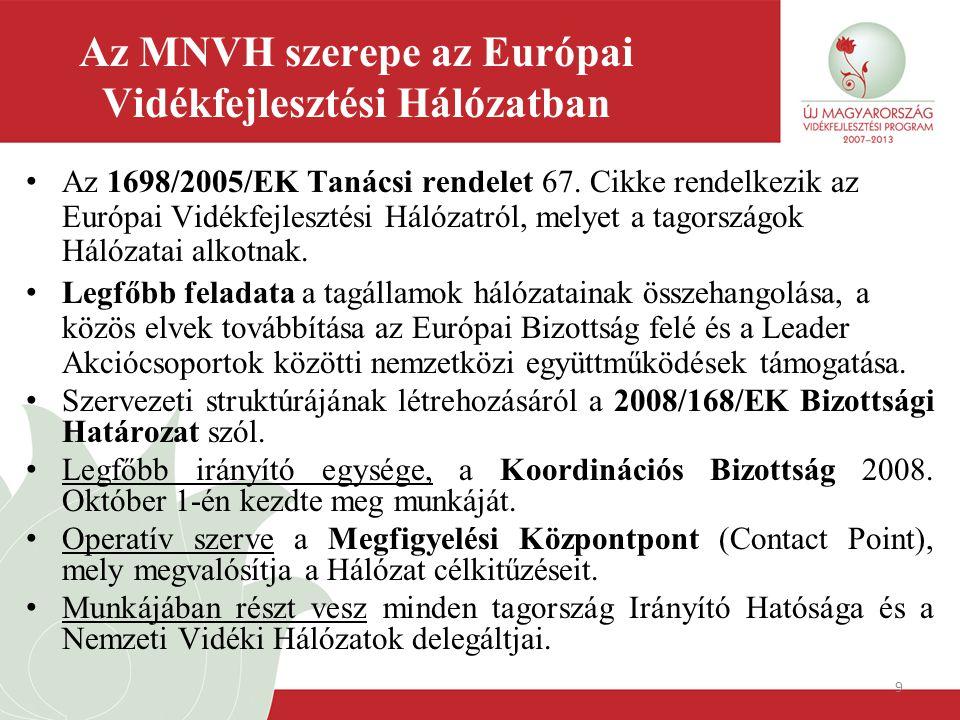 9 Az MNVH szerepe az Európai Vidékfejlesztési Hálózatban Az 1698/2005/EK Tanácsi rendelet 67. Cikke rendelkezik az Európai Vidékfejlesztési Hálózatról