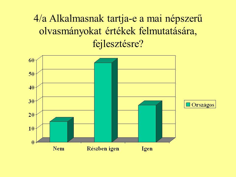 4/a Alkalmasnak tartja-e a mai népszerű olvasmányokat értékek felmutatására, fejlesztésre?