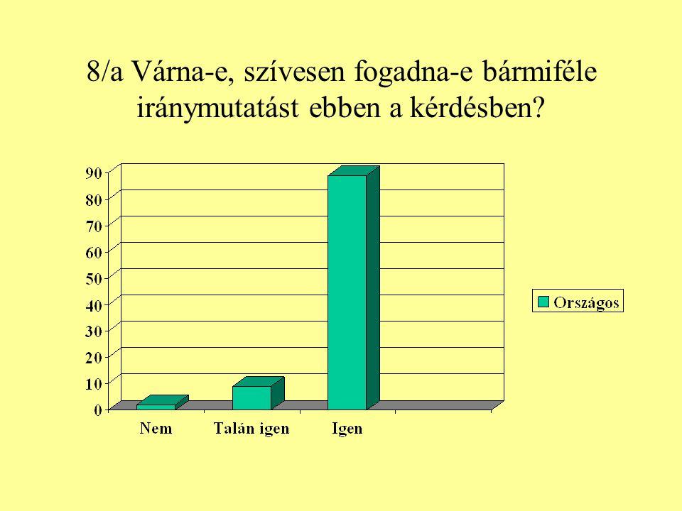 8/a Várna-e, szívesen fogadna-e bármiféle iránymutatást ebben a kérdésben?