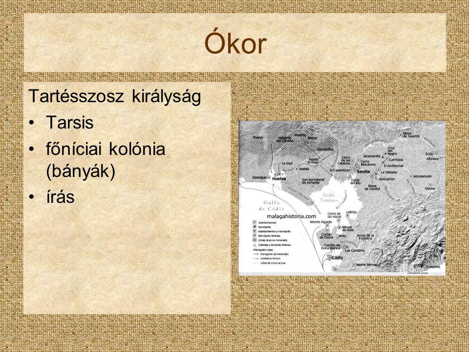 Ókor Tartésszosz királyság Tarsis főníciai kolónia (bányák) írás