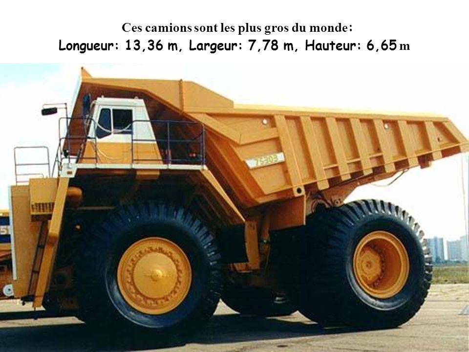 Ces camions sont les plus gros du monde : Longueur: 13,36 m, Largeur: 7,78 m, Hauteur: 6,65 m