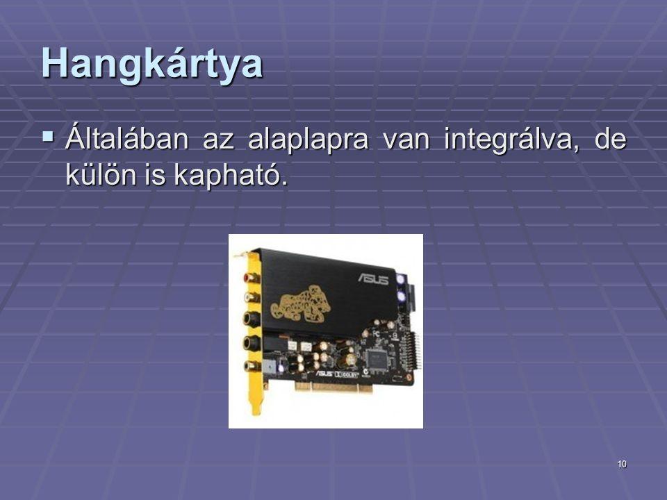 10 Hangkártya  Általában az alaplapra van integrálva, de külön is kapható.