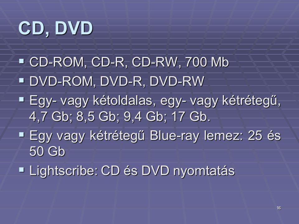 16 CD, DVD  CD-ROM, CD-R, CD-RW, 700 Mb  DVD-ROM, DVD-R, DVD-RW  Egy- vagy kétoldalas, egy- vagy kétrétegű, 4,7 Gb; 8,5 Gb; 9,4 Gb; 17 Gb.  Egy va