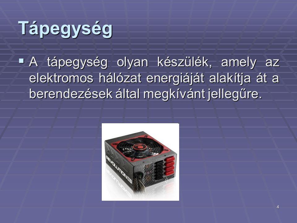 4 Tápegység  A tápegység olyan készülék, amely az elektromos hálózat energiáját alakítja át a berendezések által megkívánt jellegűre.