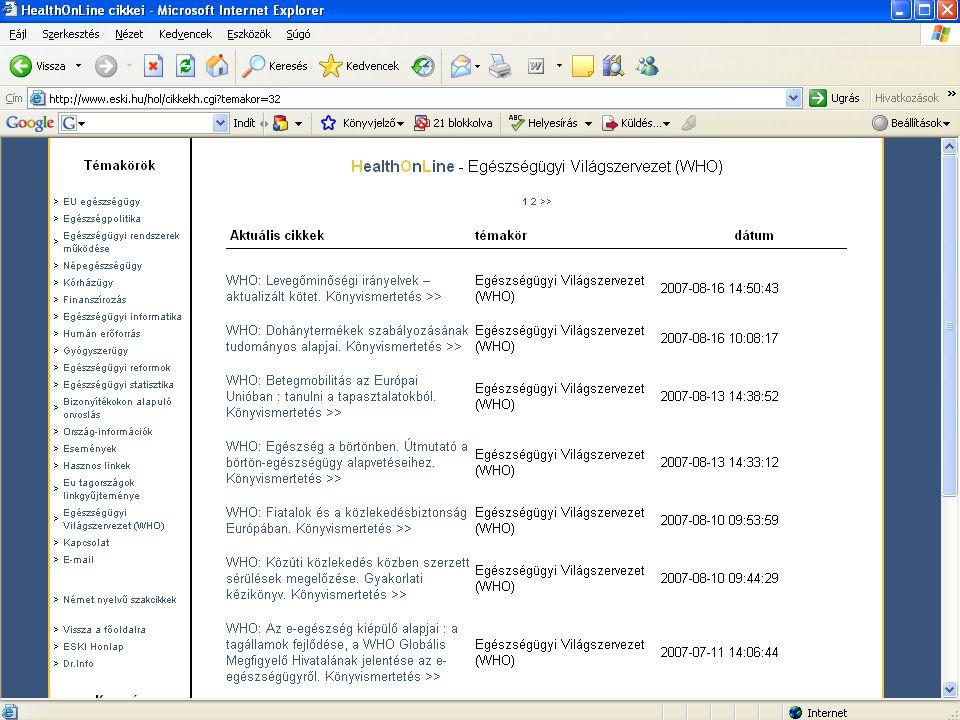 . 2015. 07. 22.Informatio Medicata 2006. október 18.