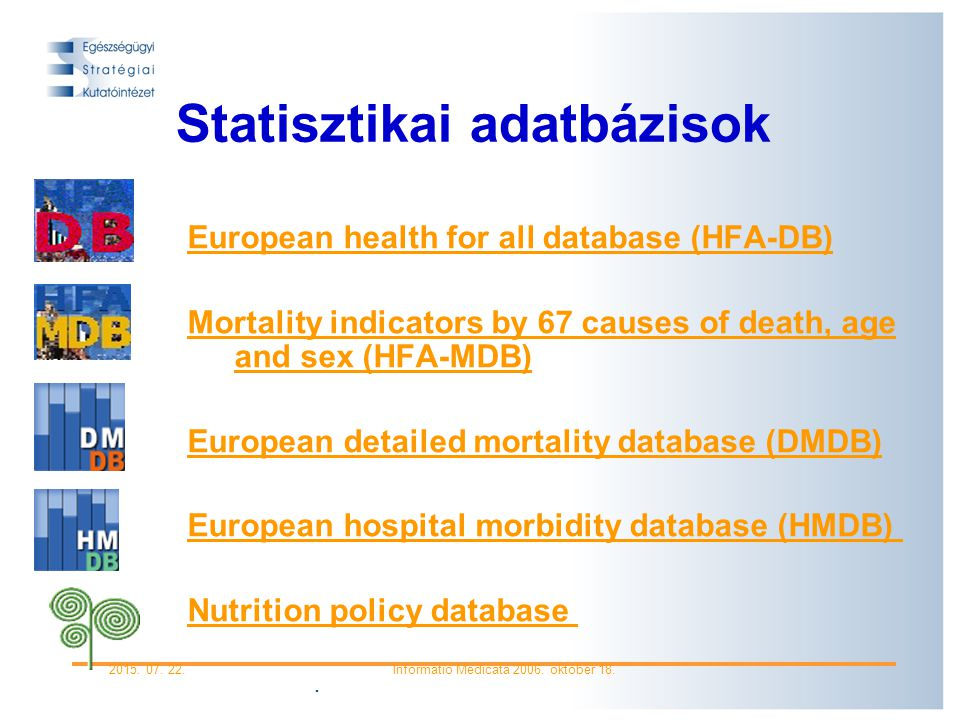 . 2015. 07. 22.Informatio Medicata 2006. október 18. HFA adatbázis