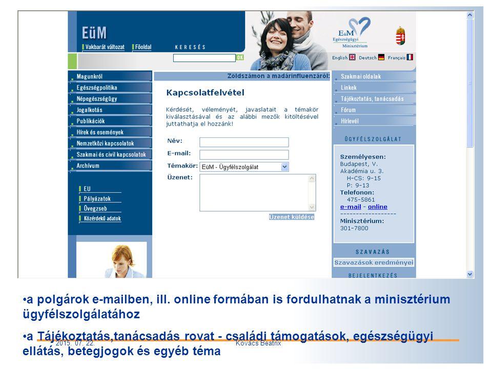 2015. 07. 22.Kovács Beatrix a polgárok e-mailben, ill.