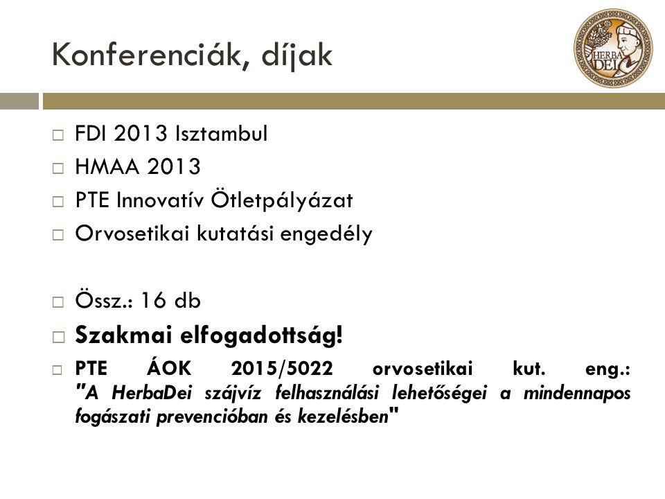 Konferenciák, díjak  FDI 2013 Isztambul  HMAA 2013  PTE Innovatív Ötletpályázat  Orvosetikai kutatási engedély  Össz.: 16 db  Szakmai elfogadott
