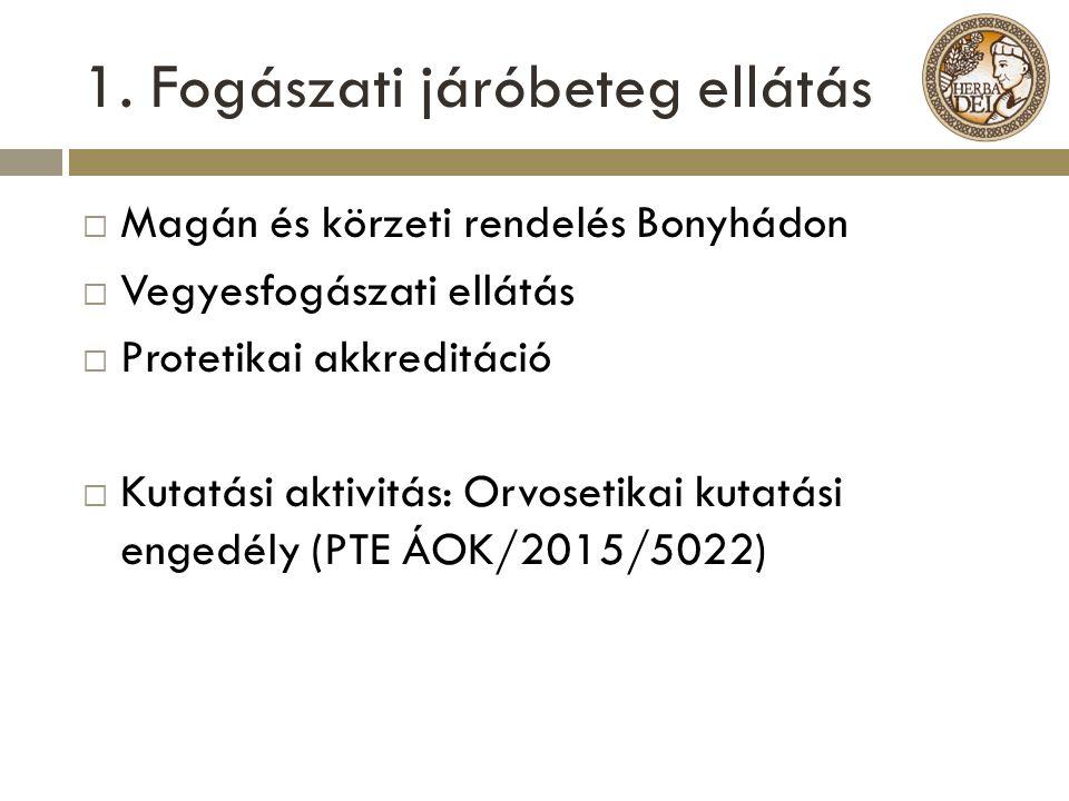 1. Fogászati járóbeteg ellátás  Magán és körzeti rendelés Bonyhádon  Vegyesfogászati ellátás  Protetikai akkreditáció  Kutatási aktivitás: Orvoset