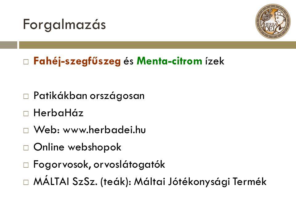 Forgalmazás  Fahéj-szegfűszeg és Menta-citrom ízek  Patikákban országosan  HerbaHáz  Web: www.herbadei.hu  Online webshopok  Fogorvosok, orvoslá