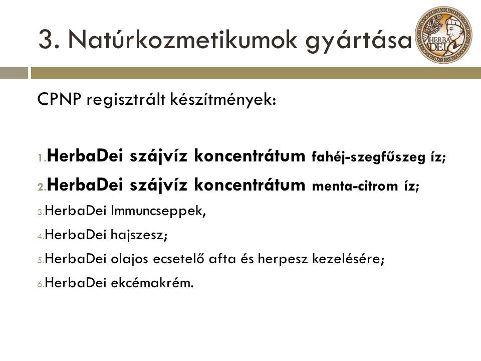 3. Natúrkozmetikumok gyártása CPNP regisztrált készítmények: 1. HerbaDei szájvíz koncentrátum fahéj-szegfűszeg íz; 2. HerbaDei szájvíz koncentrátum me