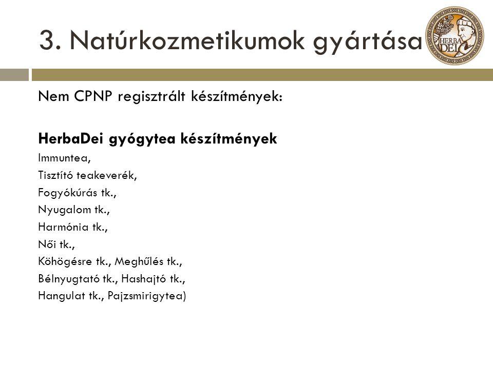 3. Natúrkozmetikumok gyártása Nem CPNP regisztrált készítmények: HerbaDei gyógytea készítmények Immuntea, Tisztító teakeverék, Fogyókúrás tk., Nyugalo
