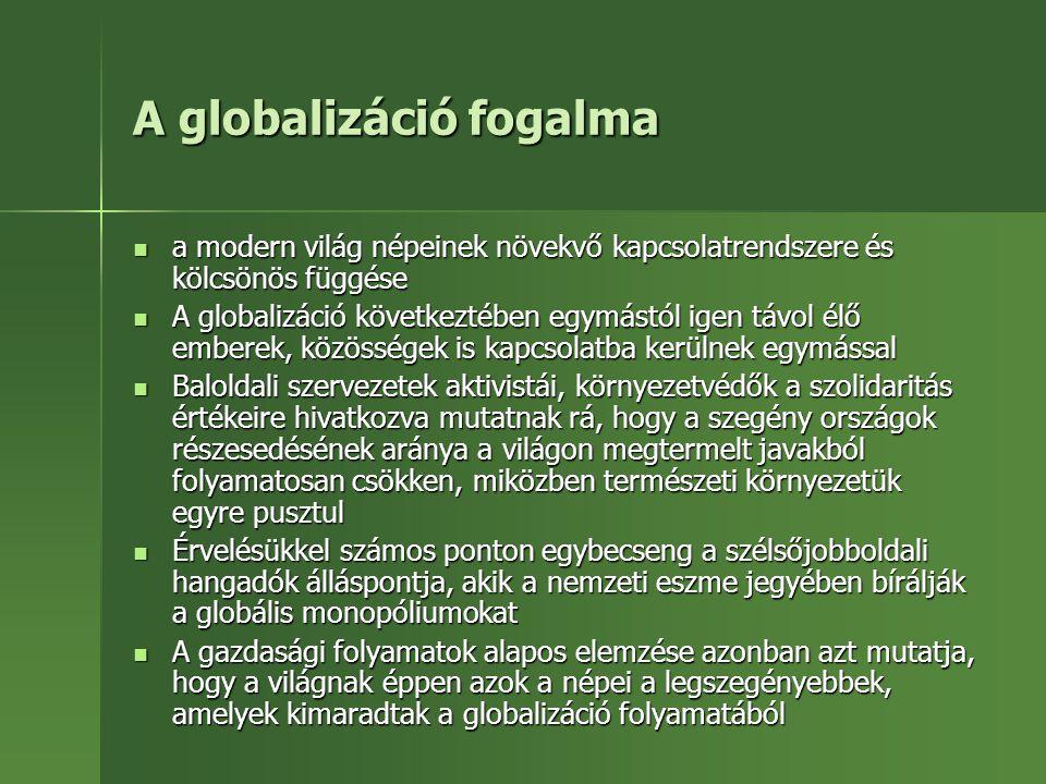 A globalizáció fogalma a modern világ népeinek növekvő kapcsolatrendszere és kölcsönös függése a modern világ népeinek növekvő kapcsolatrendszere és k