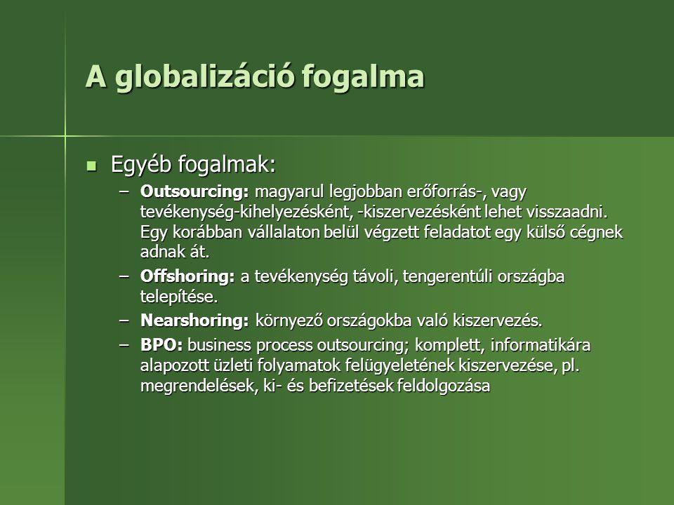 A globalizáció fogalma Egyéb fogalmak: Egyéb fogalmak: –Outsourcing: magyarul legjobban erőforrás-, vagy tevékenység-kihelyezésként, -kiszervezésként
