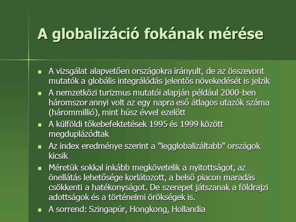 A globalizáció fokának mérése A vizsgálat alapvetően országokra irányult, de az összevont mutatók a globális integrálódás jelentős növekedését is jelz