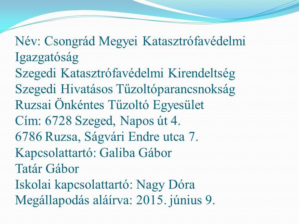 Név: Csongrád Megyei Katasztrófavédelmi Igazgatóság Szegedi Katasztrófavédelmi Kirendeltség Szegedi Hivatásos Tűzoltóparancsnokság Ruzsai Önkéntes Tűz