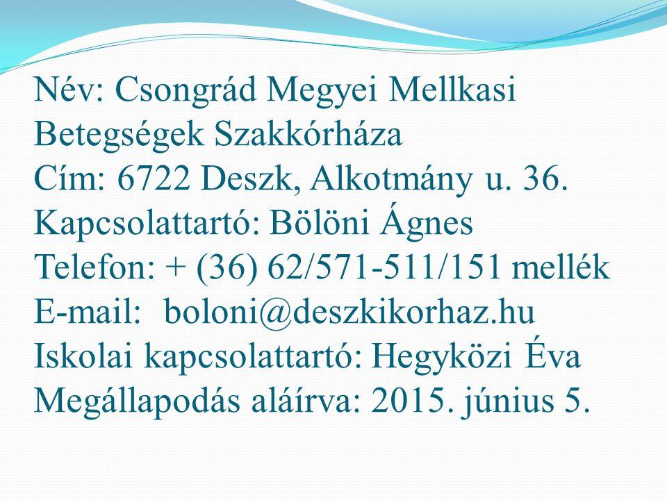 Név: Csongrád Megyei Mellkasi Betegségek Szakkórháza Cím: 6722 Deszk, Alkotmány u. 36. Kapcsolattartó: Bölöni Ágnes Telefon: + (36) 62/571-511/151 mel