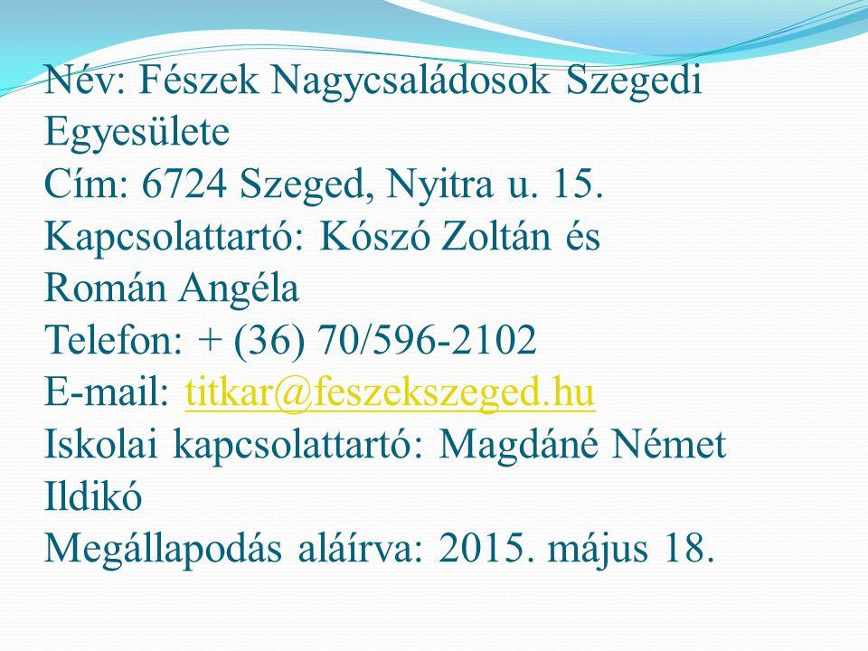Név: Fészek Nagycsaládosok Szegedi Egyesülete Cím: 6724 Szeged, Nyitra u. 15. Kapcsolattartó: Kószó Zoltán és Román Angéla Telefon: + (36) 70/596-2102