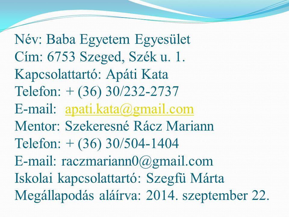 Név: Baba Egyetem Egyesület Cím: 6753 Szeged, Szék u. 1. Kapcsolattartó: Apáti Kata Telefon: + (36) 30/232-2737 E-mail: apati.kata@gmail.com Mentor: S