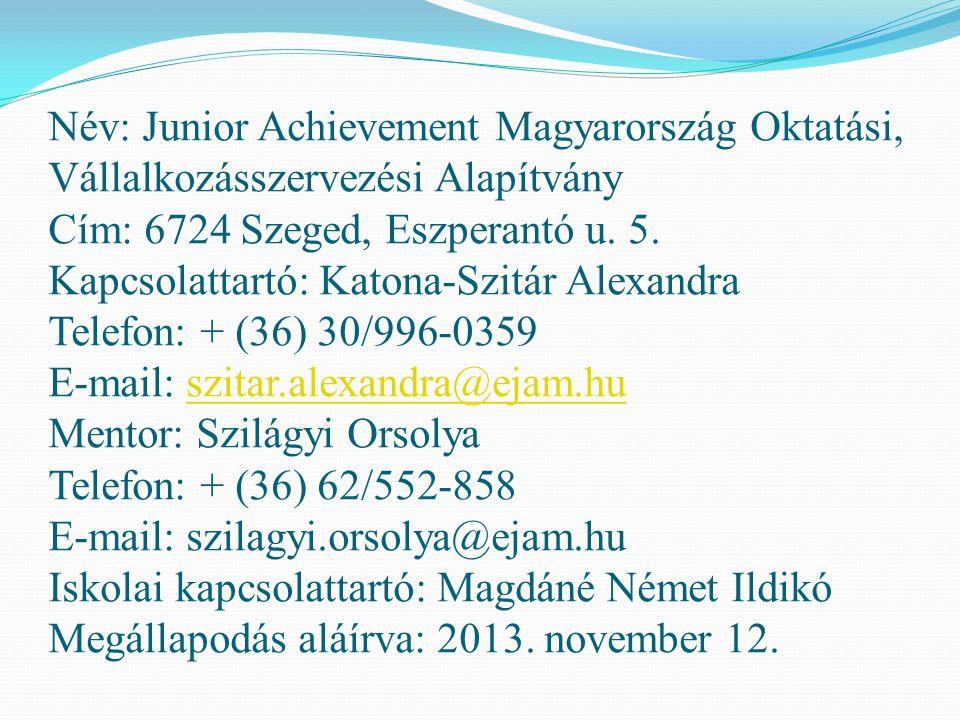 Név: Junior Achievement Magyarország Oktatási, Vállalkozásszervezési Alapítvány Cím: 6724 Szeged, Eszperantó u. 5. Kapcsolattartó: Katona-Szitár Alexa