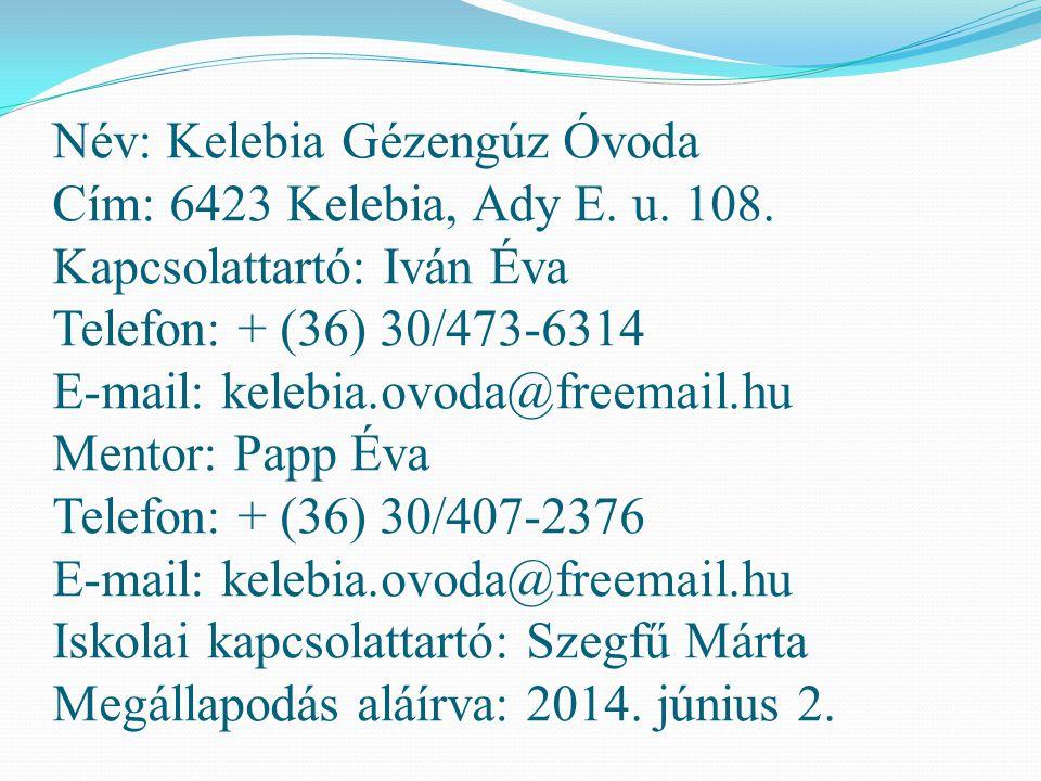 Név: Kelebia Gézengúz Óvoda Cím: 6423 Kelebia, Ady E. u. 108. Kapcsolattartó: Iván Éva Telefon: + (36) 30/473-6314 E-mail: kelebia.ovoda@freemail.hu M