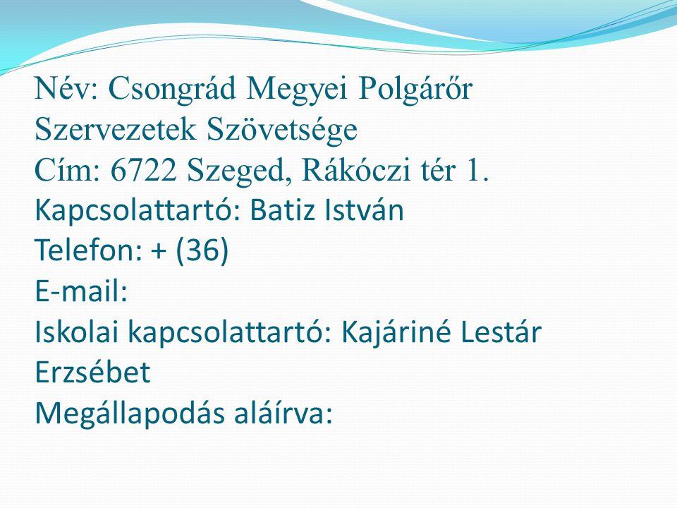 Név: Csongrád Megyei Polgárőr Szervezetek Szövetsége Cím: 6722 Szeged, Rákóczi tér 1. Kapcsolattartó: Batiz István Telefon: + (36) E-mail: Iskolai kap
