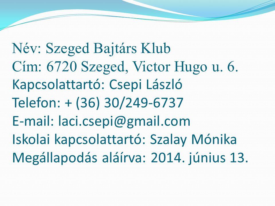 Név: Szeged Bajtárs Klub Cím: 6720 Szeged, Victor Hugo u. 6. Kapcsolattartó: Csepi László Telefon: + (36) 30/249-6737 E-mail: laci.csepi@gmail.com Isk