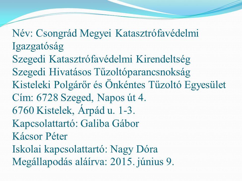 Név: Csongrád Megyei Katasztrófavédelmi Igazgatóság Szegedi Katasztrófavédelmi Kirendeltség Szegedi Hivatásos Tűzoltóparancsnokság Ruzsai Önkéntes Tűzoltó Egyesület Cím: 6728 Szeged, Napos út 4.