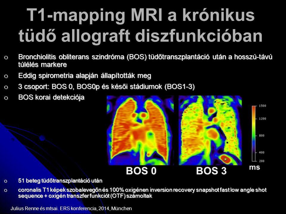 T1-mapping MRI a krónikus tüdő allograft diszfunkcióban o Bronchiolitis obliterans szindróma (BOS) tüdőtranszplantáció után a hosszú-távú túlélés mark