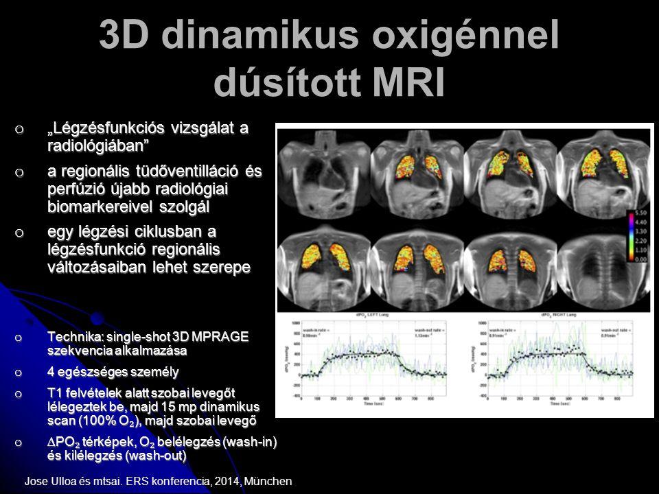 """3D dinamikus oxigénnel dúsított MRI o """"Légzésfunkciós vizsgálat a radiológiában"""" o a regionális tüdőventilláció és perfúzió újabb radiológiai biomarke"""