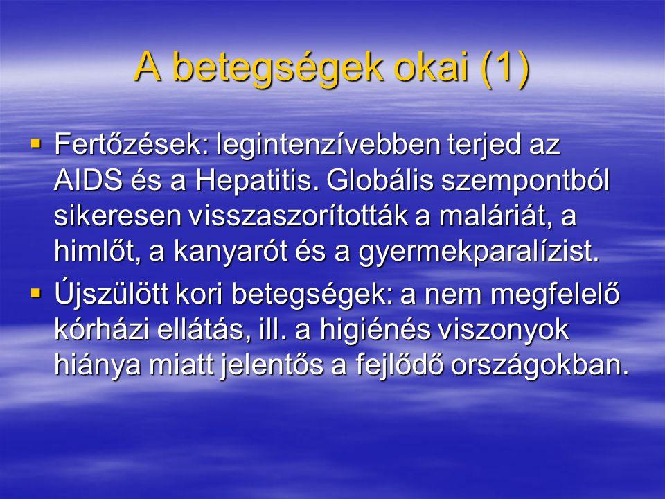 A betegségek okai (1)  Fertőzések: legintenzívebben terjed az AIDS és a Hepatitis.