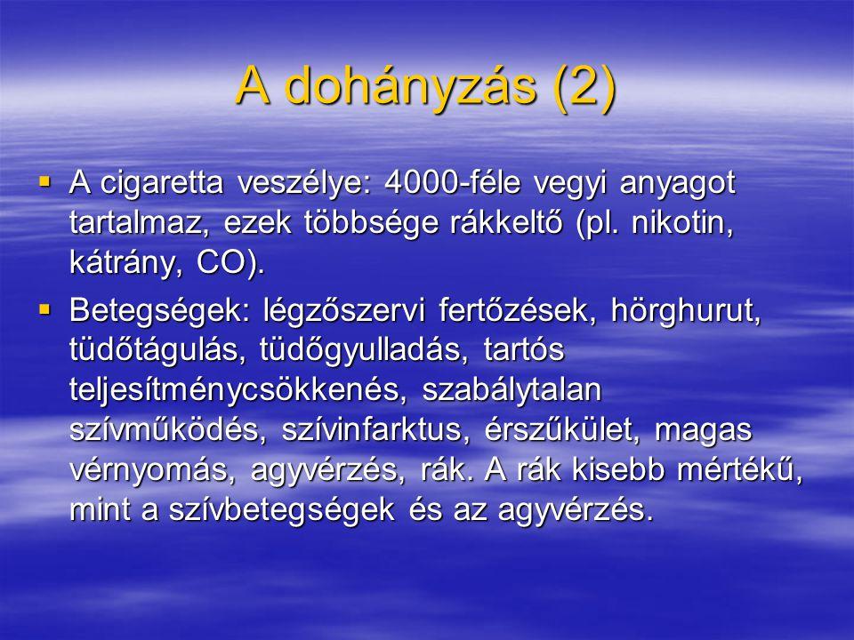 A dohányzás (2)  A cigaretta veszélye: 4000-féle vegyi anyagot tartalmaz, ezek többsége rákkeltő (pl.