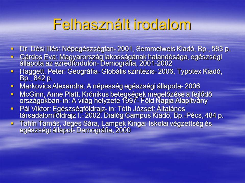 Felhasznált irodalom  Dr.Dési Illés: Népegészségtan- 2001, Semmelweis Kiadó, Bp., 583 p.
